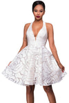 White Jacquard Skater Party Dress