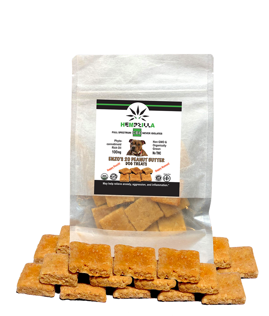 Enzo's CBD Dog treats by HEMPZILLA CBD are the highest quality most potent CBD dog treats