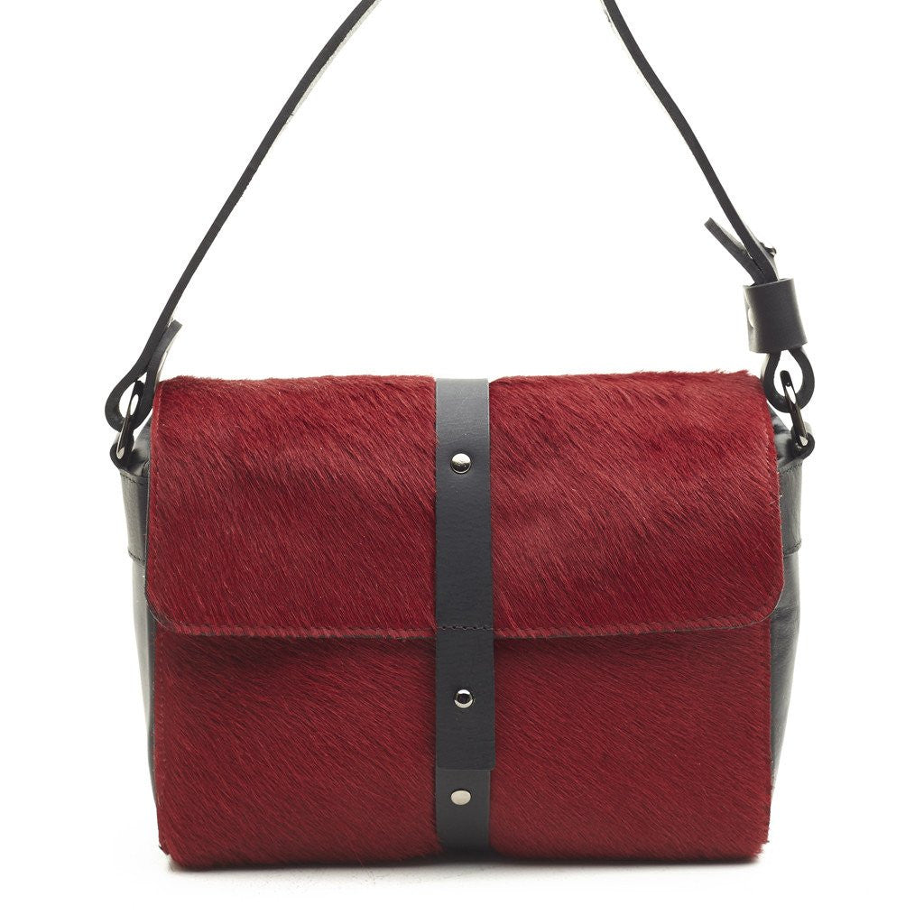Convict Sophia Boxy Satchel, Red Cowhide