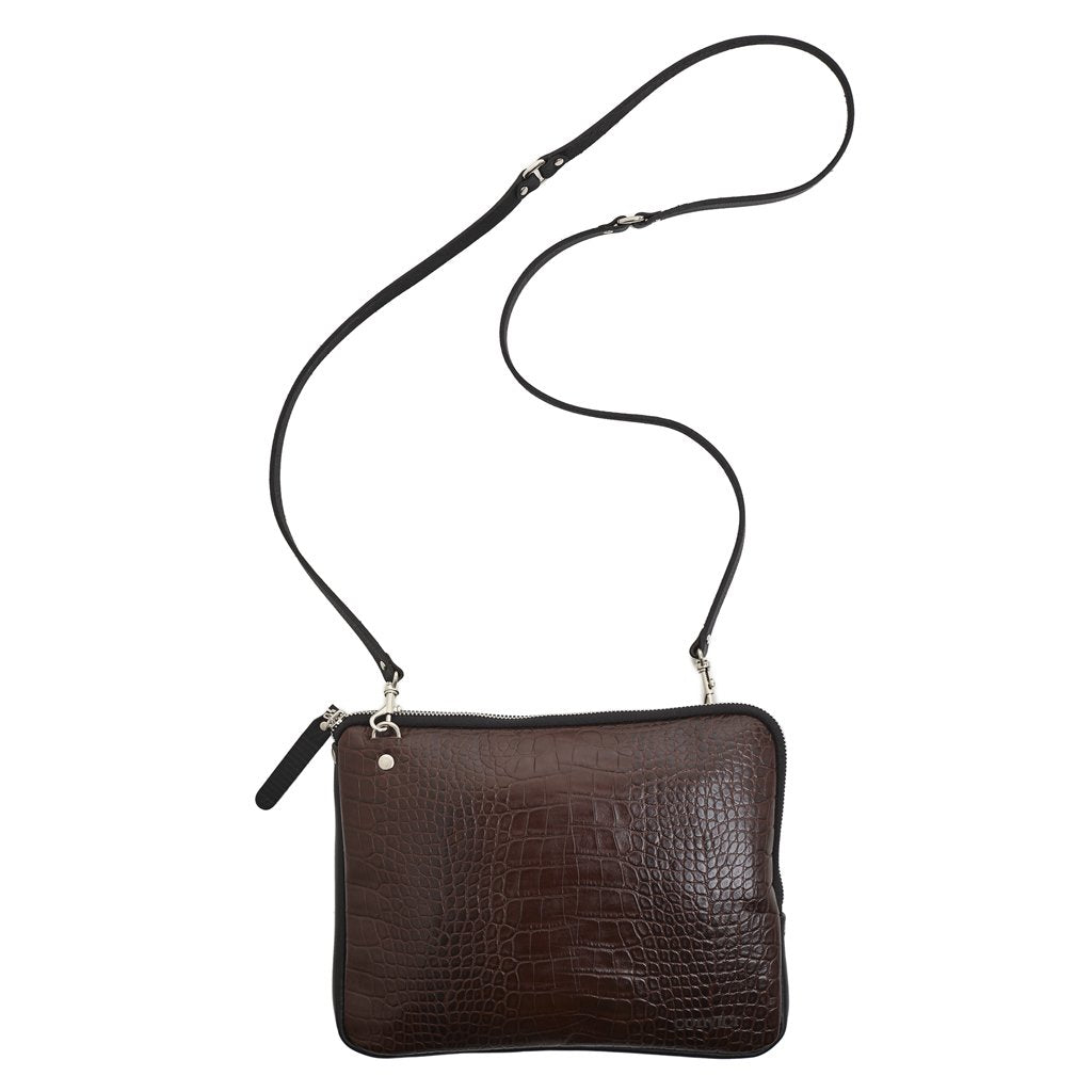 Convict Grace Crossbody, Brown Croc Print