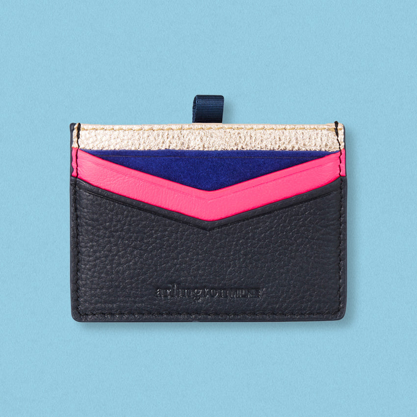 Arlington Milne Alexis Card Holder, Rose Gold / Navy
