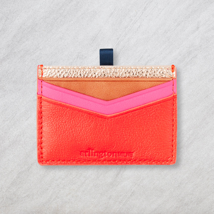 Arlington Milne Alexis Card Holder, Rose Gold / Tangerine