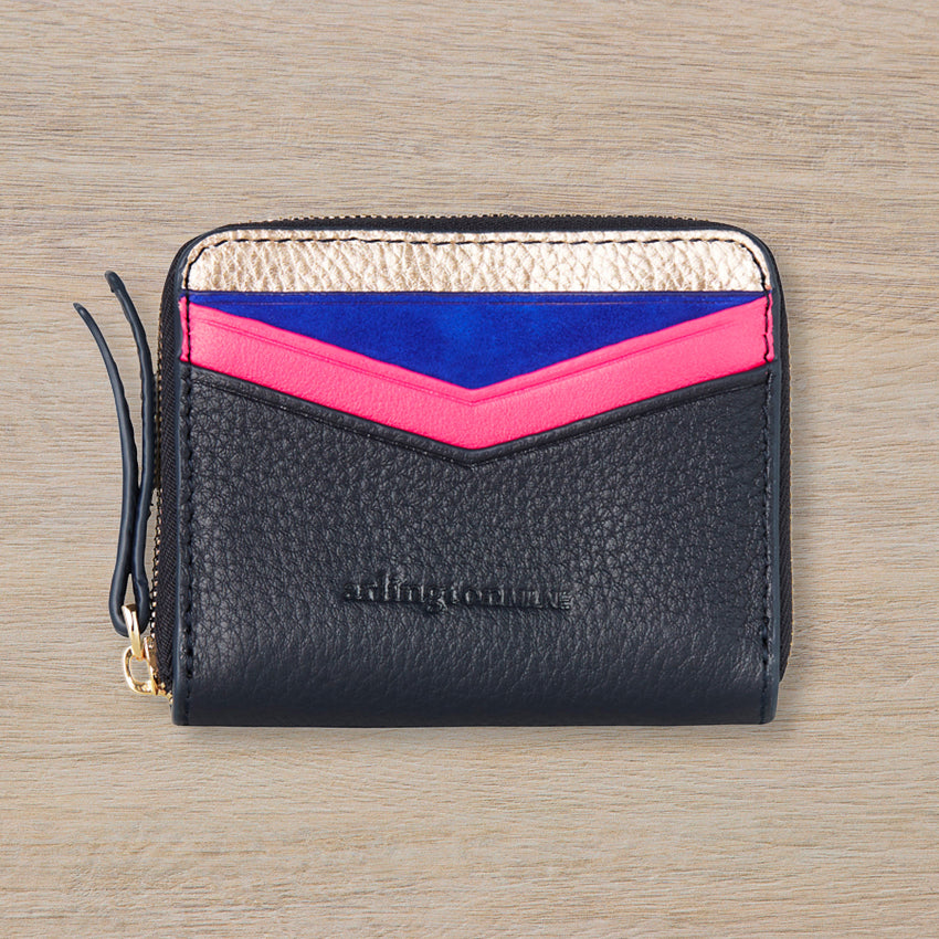 Arlington Milne Alexis Zip Purse, Rose Gold & Navy