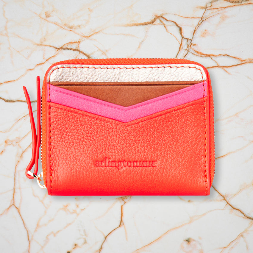Arlington Milne Alexis Zip Purse, Rose Gold & Tangerine