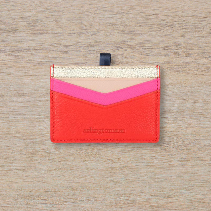 Arlington Milne Alexis Card Holder, Gold / Tomato