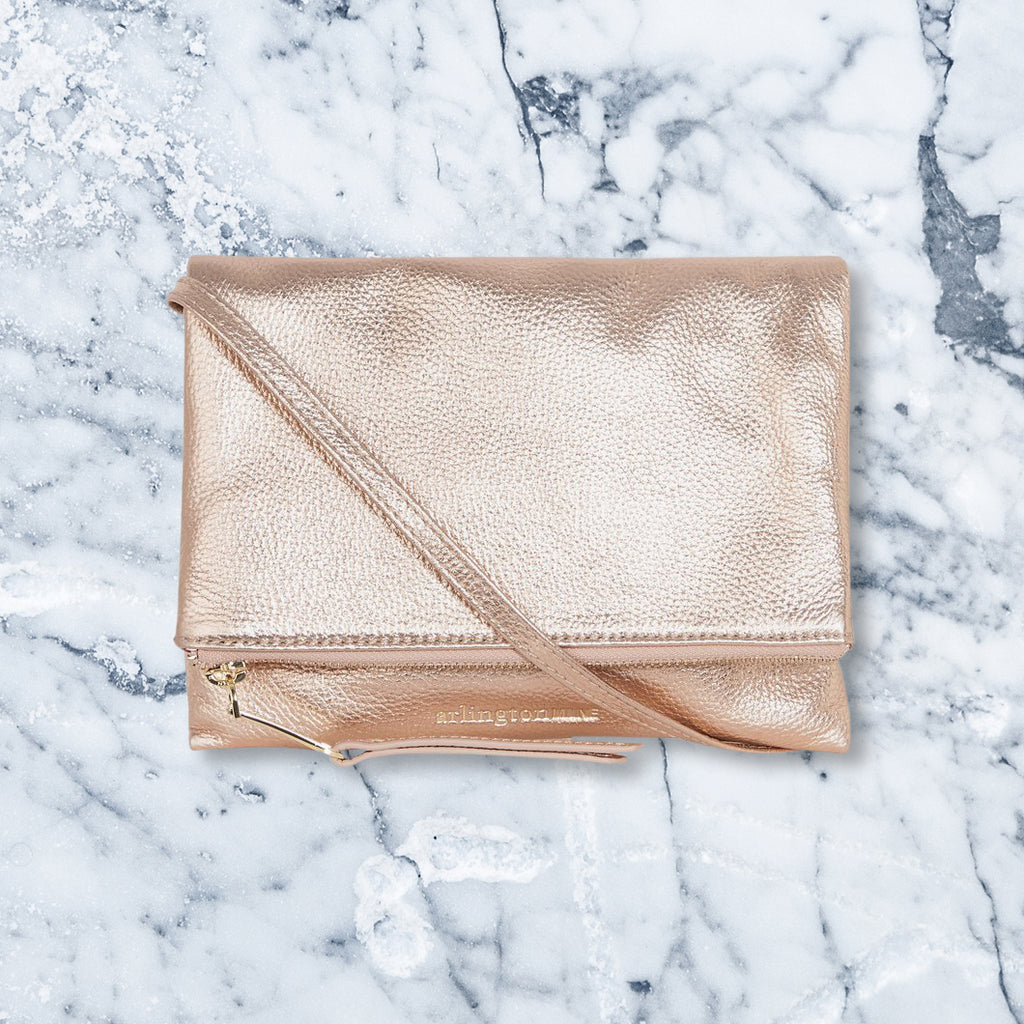 Arlington Milne Ella Foldover Wallet, Rose Gold