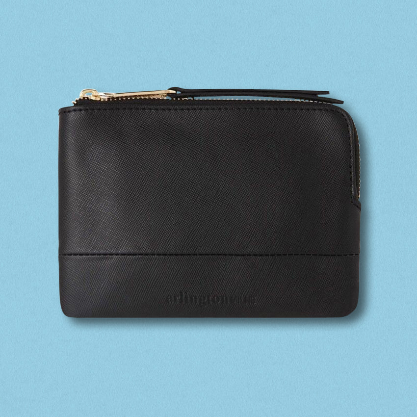 Arlington Milne Lou Lou Coin Purse, Black Saffiano