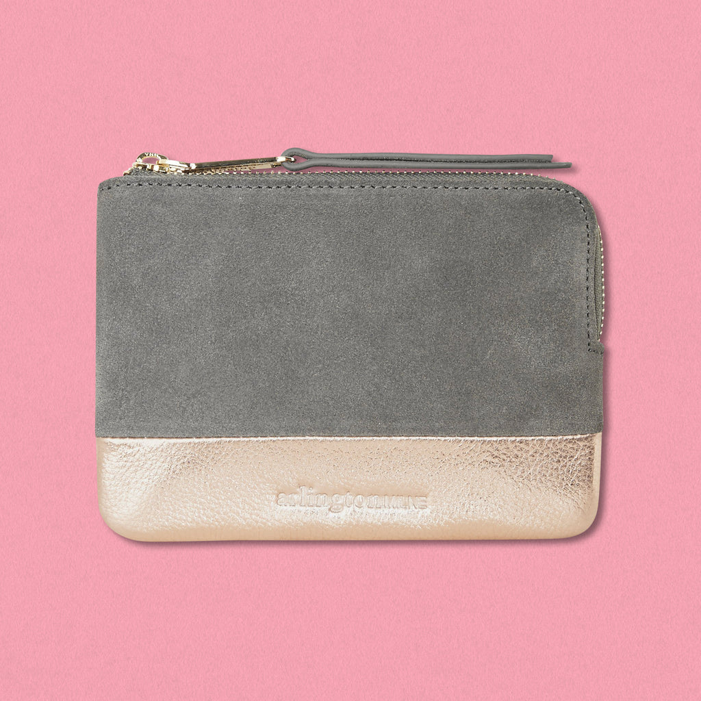 Arlington Milne Lou Lou Coin Purse, Grey Suede/Rose Gold Pebble