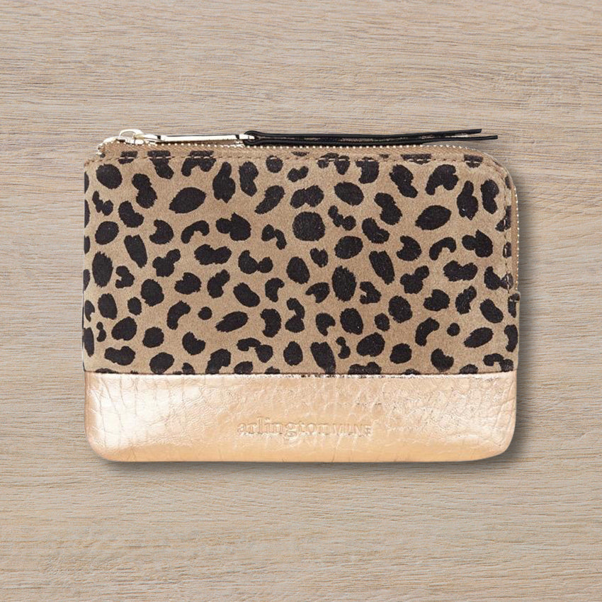 Arlington Milne Lou Lou Coin Purse, Spot Suede/Rose Gold