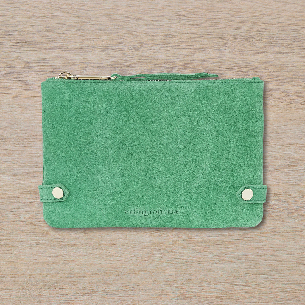 Arlington Milne Olivia Coin Purse, Emerald Suede