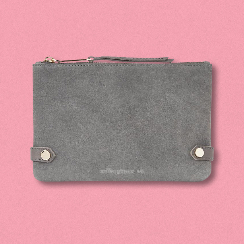 Arlington Milne Olivia Coin Purse, Grey Suede