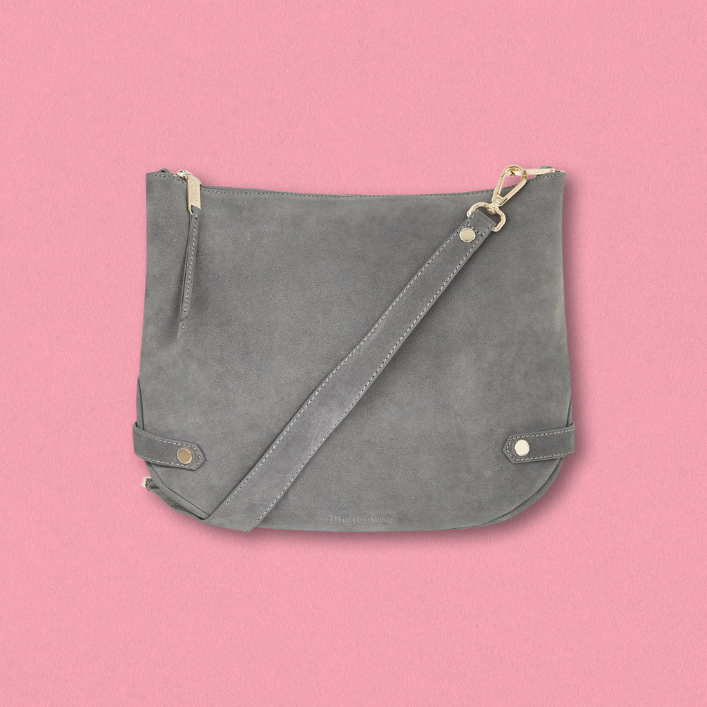 Arlington Milne Olivia Shoulder Bag, Grey Suede