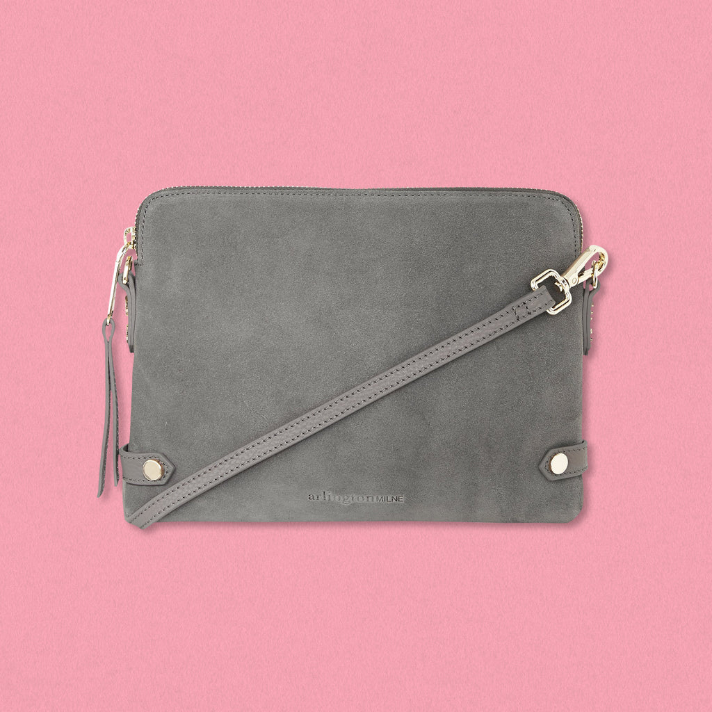 Arlington Milne Olivia Wallet, Grey Suede/Pebble