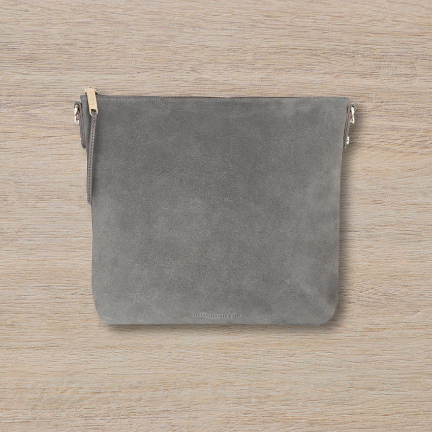 Arlington Milne Sommer Crossbody, Grey Suede/Pebble
