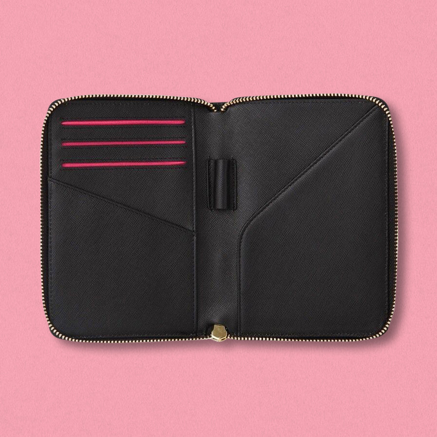 Arlington Milne Zoe Passport Holder, Black Saffiano