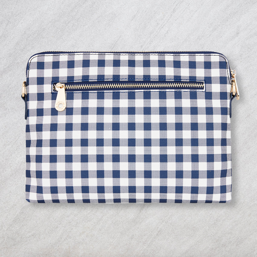 Elms + King Bowery Clutch, Navy Gingham