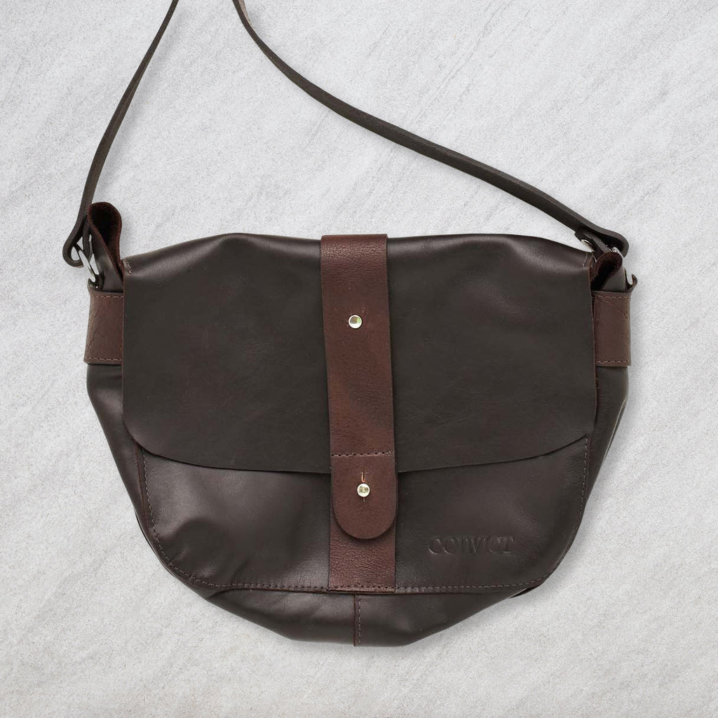 Convict Betsey Satchel, Dark Brown Leather