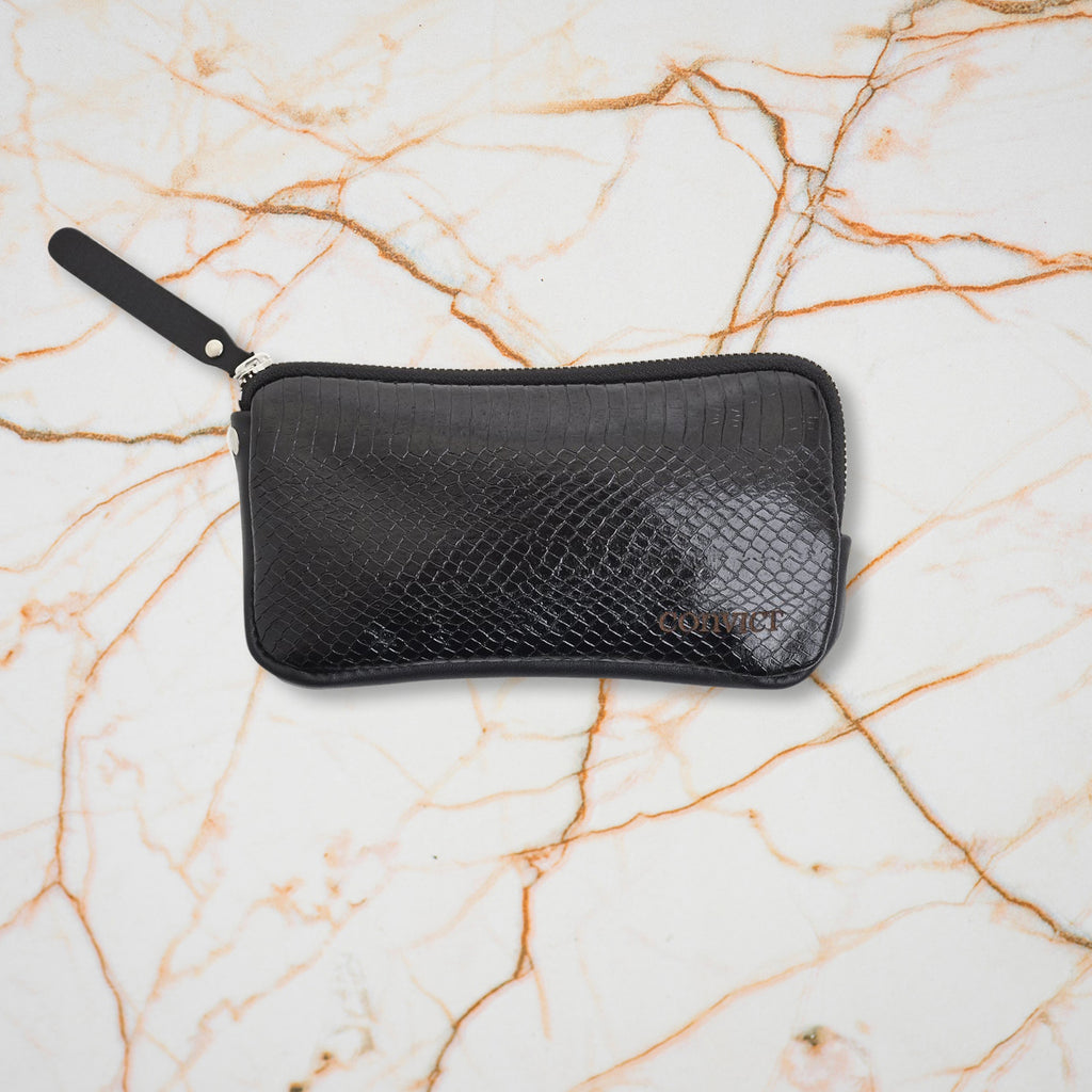Convict Esther Wallet, Black Snake Leather