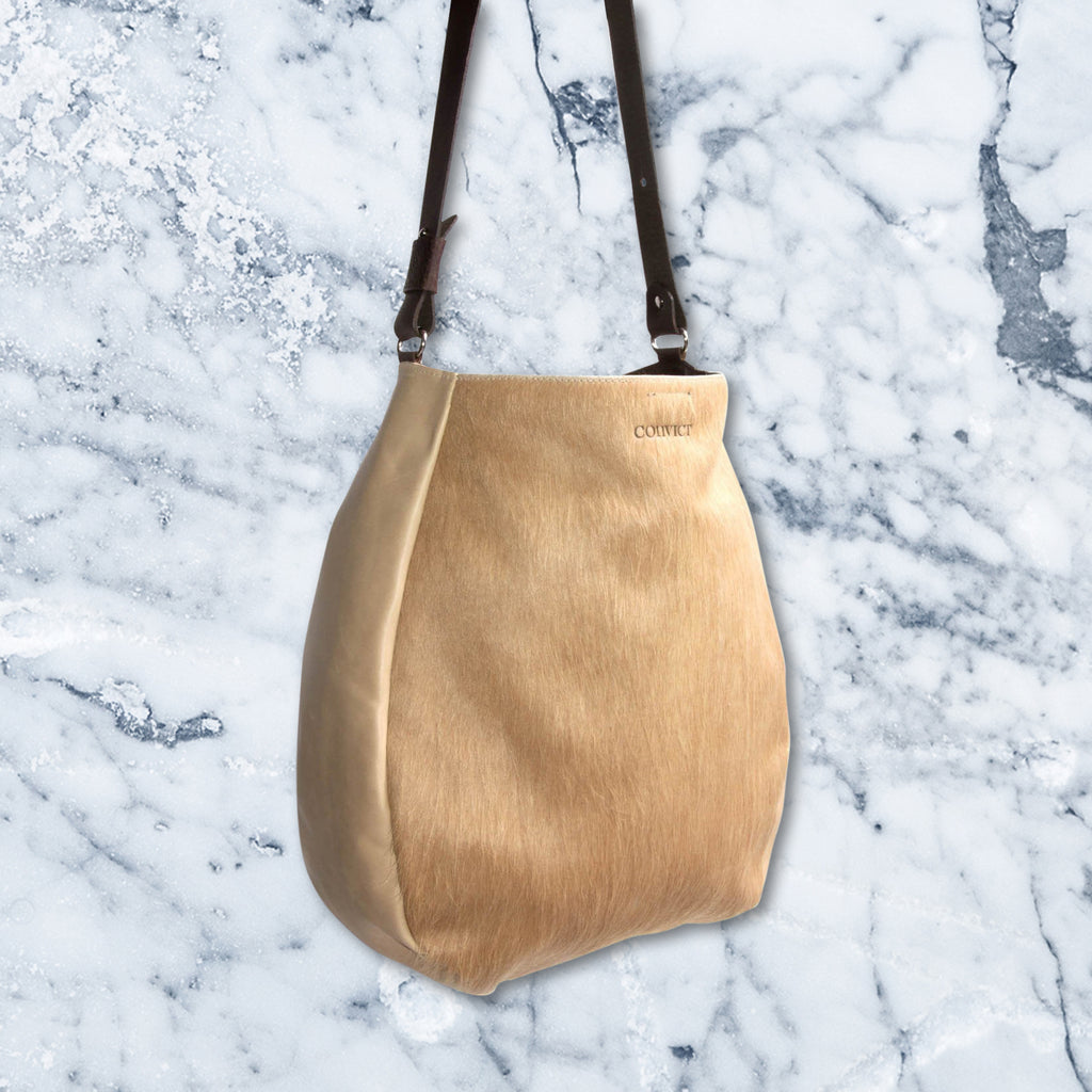 Convict Jane Tote, Beige Cowhide