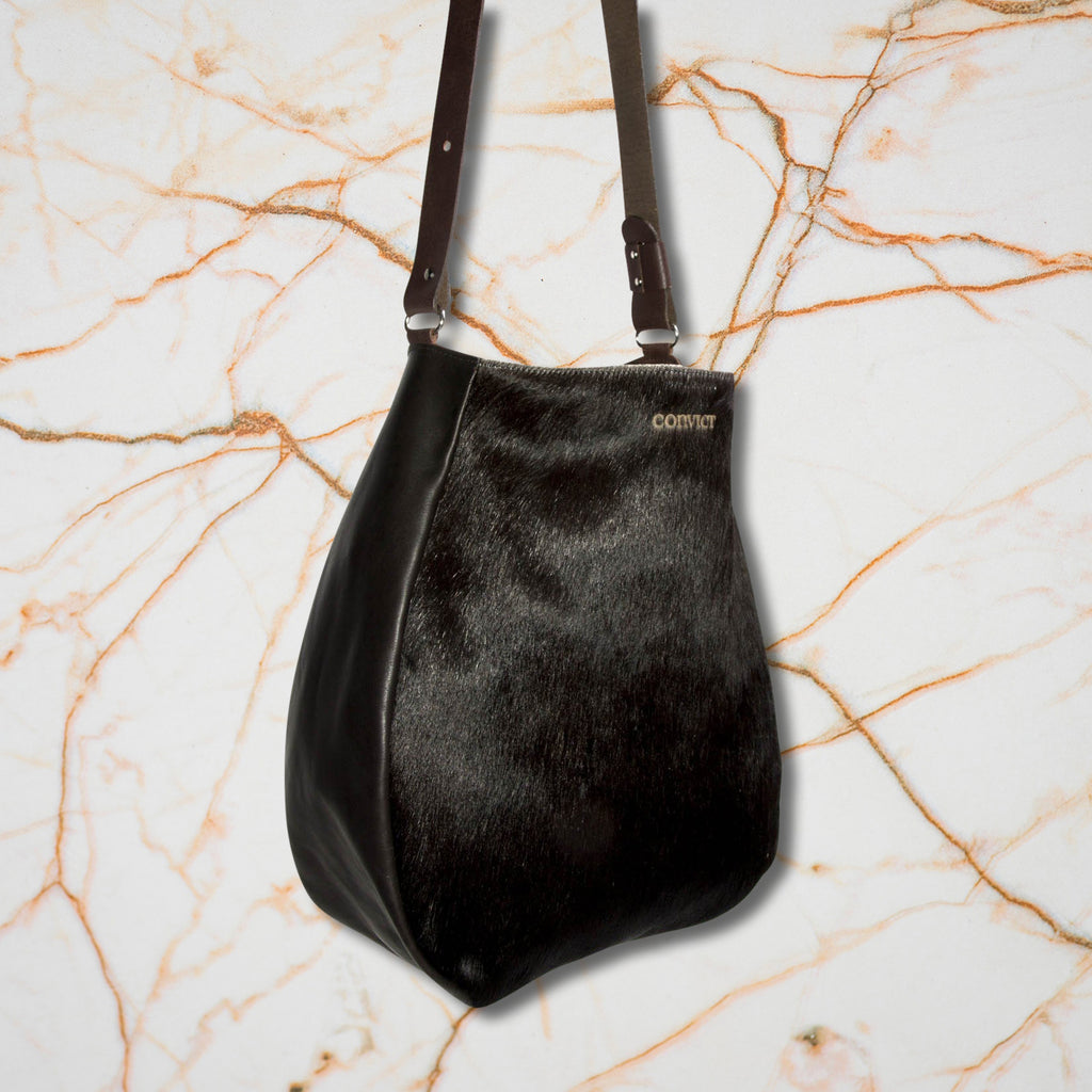 Convict Jane Tote, Black Cowhide