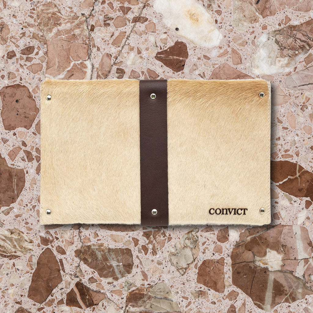 Convict Mary Clutch, Beige Cowhide