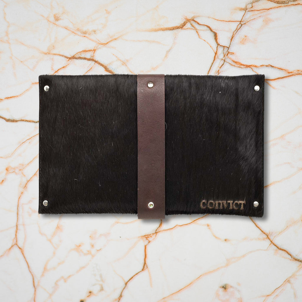 Convict Mary Clutch, Black Cowhide