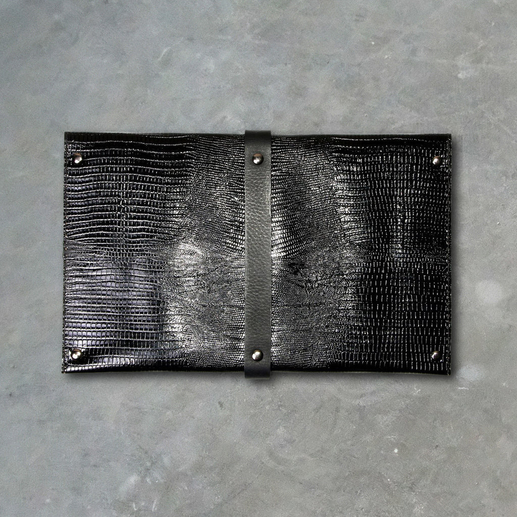 Convict Mary Clutch, Black Snake Print Leather