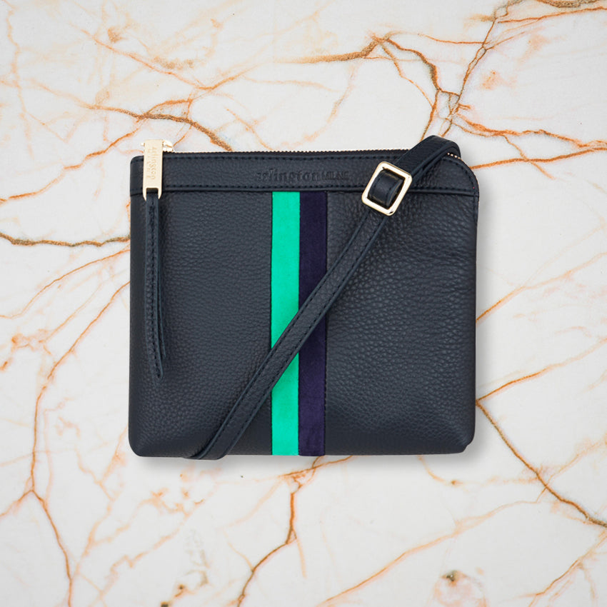 Arlington Milne Daisy Crossbody, Navy and Emerald