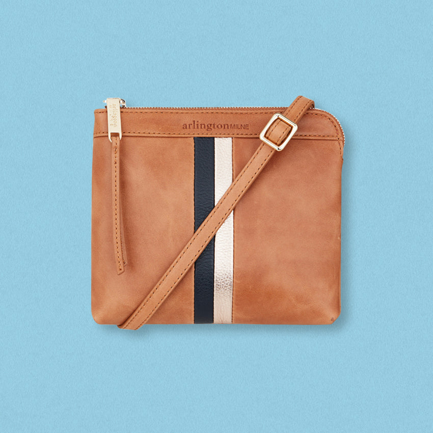 Arlington Milne Daisy Crossbody, Vintage Tan Stripe