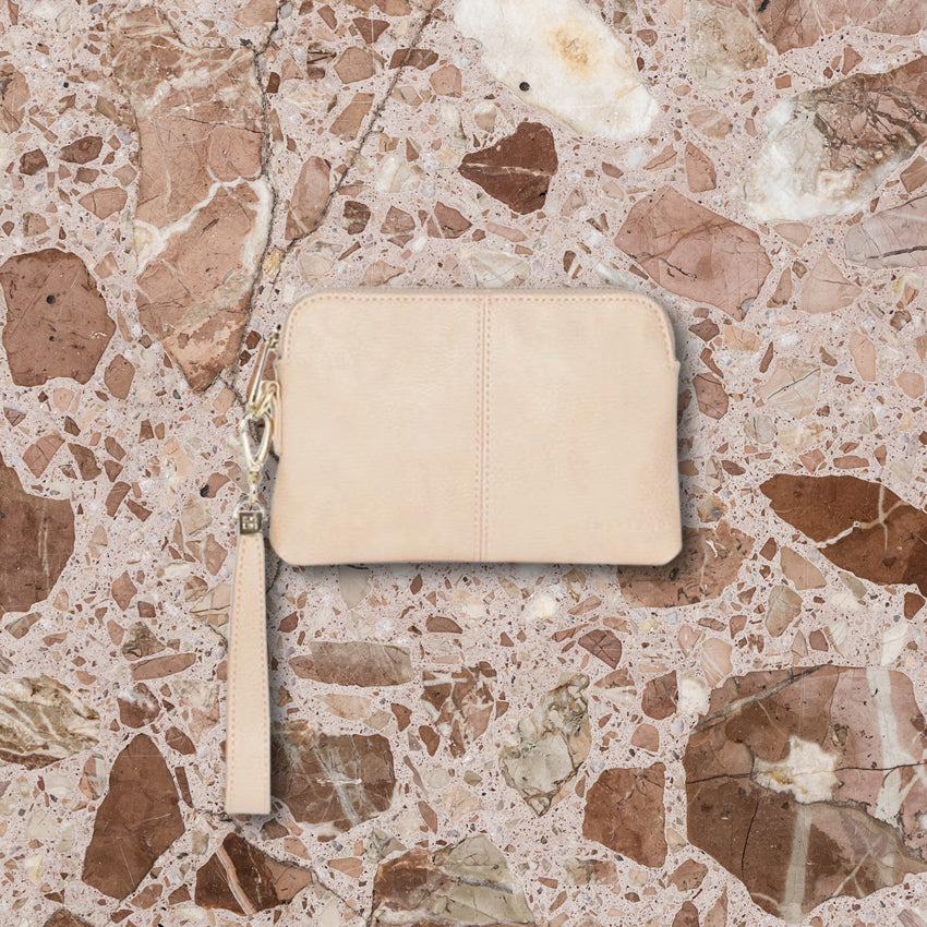 Elms + King Bowery Coin Purse, Nude Pebble