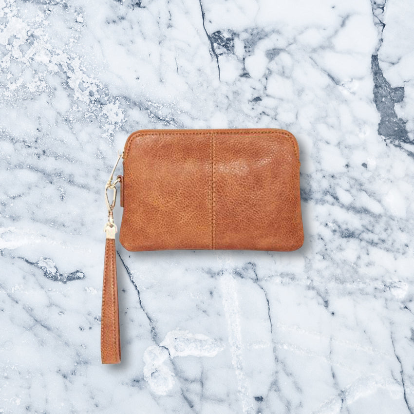 Elms + King Bowery Coin Purse, Tan Pebble