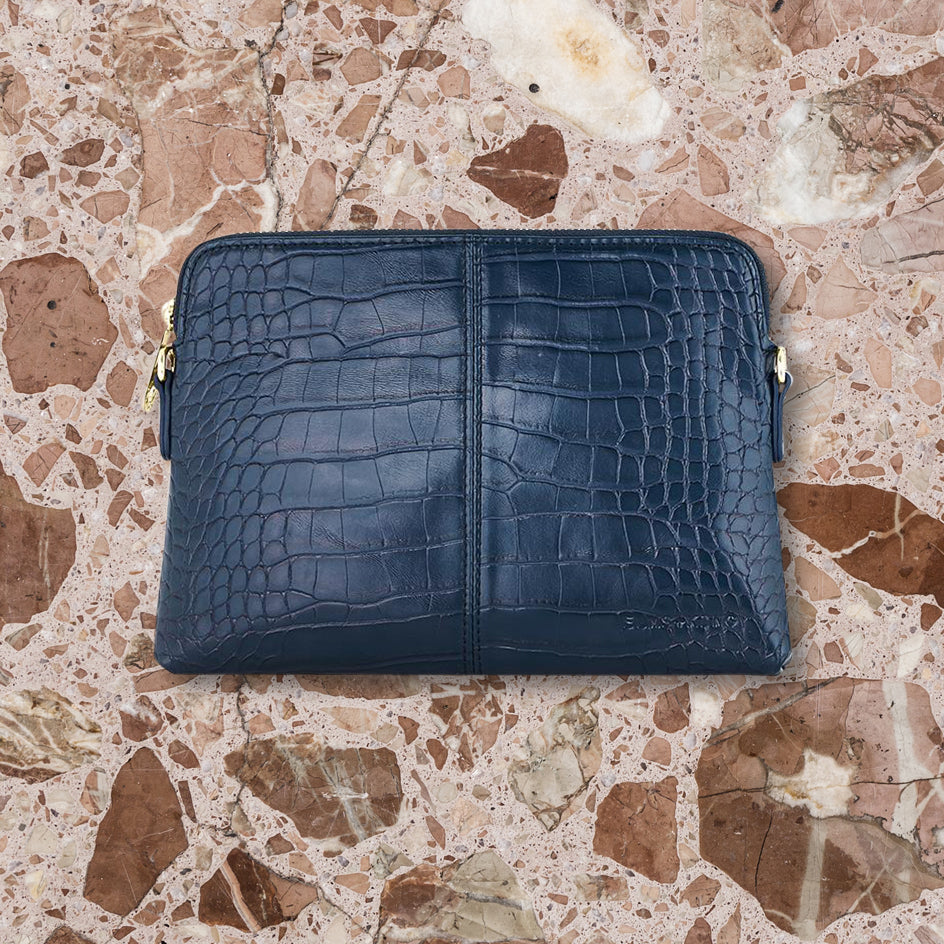 Elms + King Bowery Wallet, Navy Croc