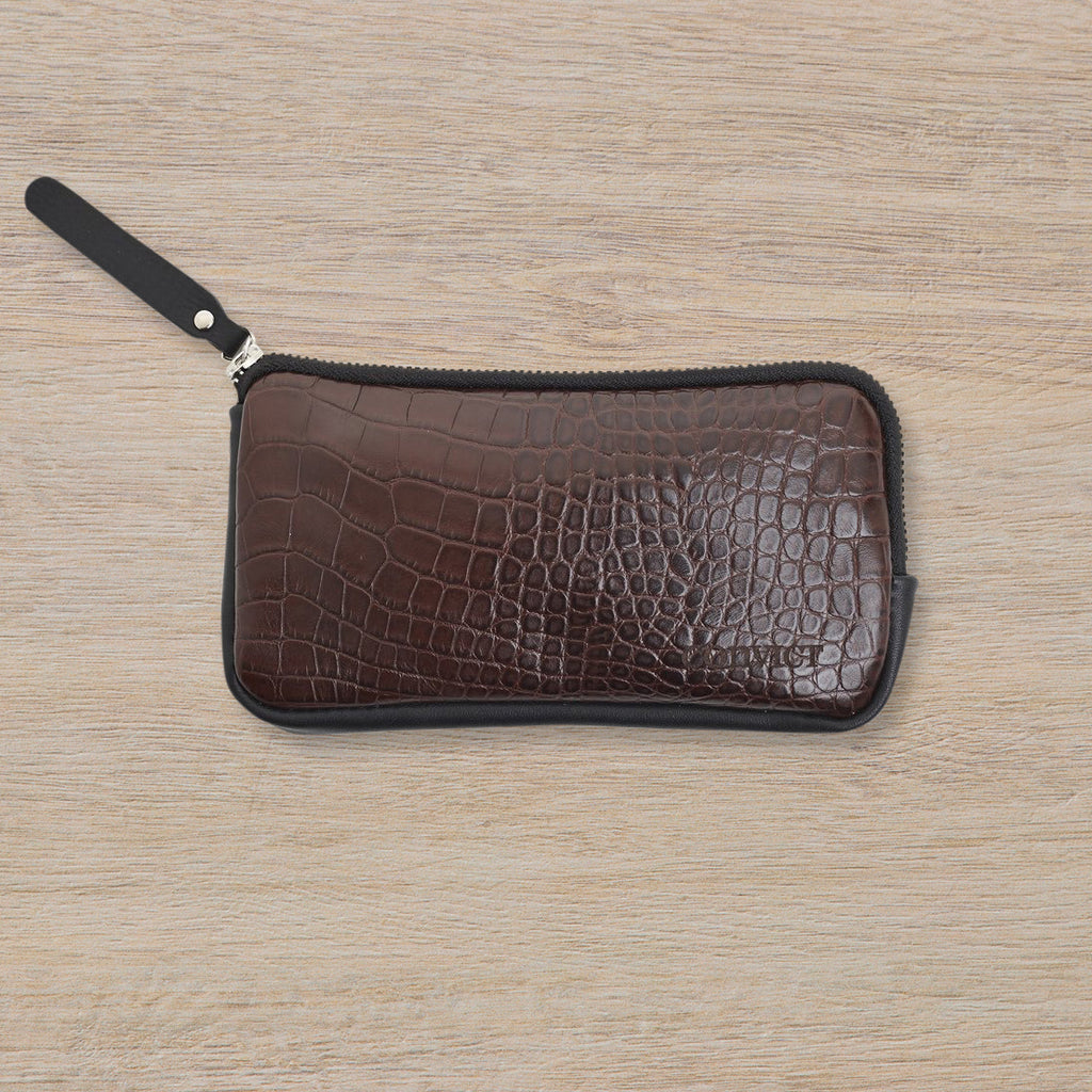 Convict Esther Wallet, Brown Croc Print
