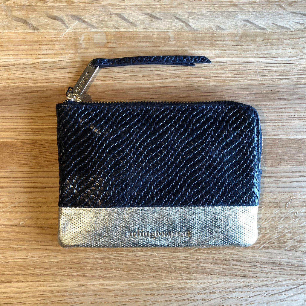 Arlington Milne Lou Lou Coin Purse, Navy Snake / Gold Dot