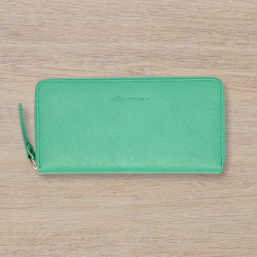 Arlington Milne Large Wallet, Mint Saffiano