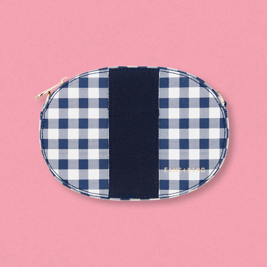 Elms + King Lexington Crossbody, Navy Gingham