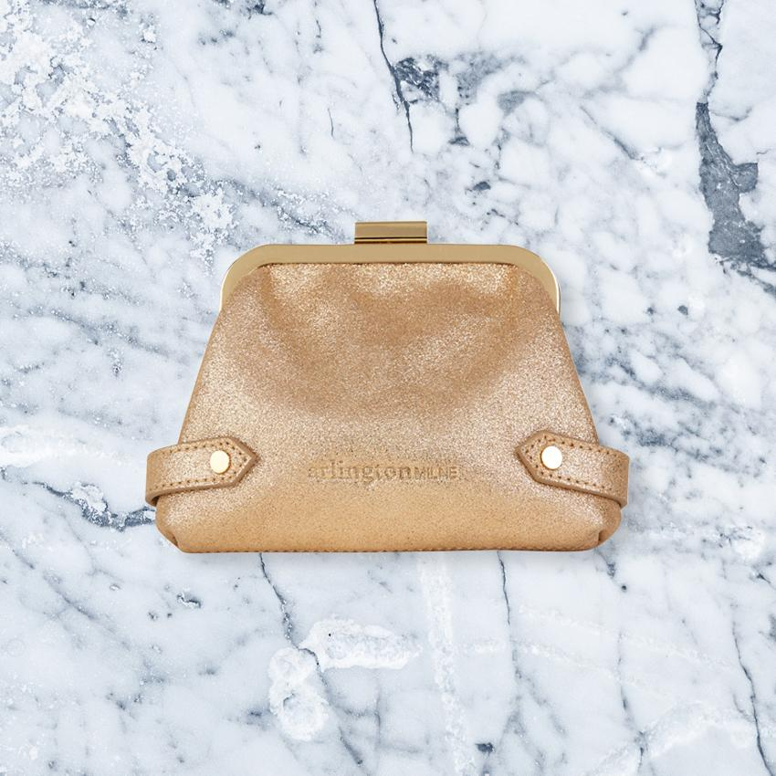 Arlington Milne Lily Purse, Gold Suede
