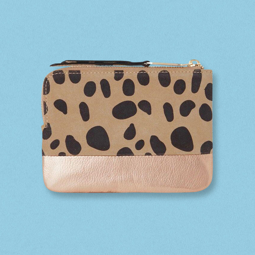 Arlington Milne Lou Lou Coin Purse, Leopard Print & Rose Gold