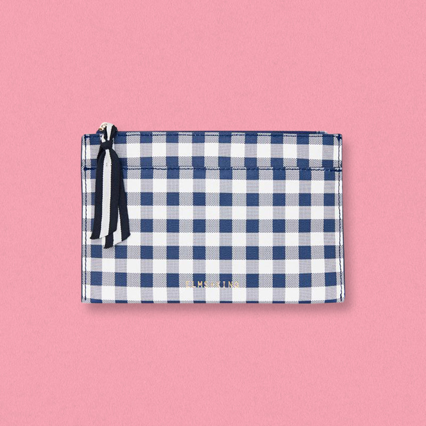 Elms + King New York Coin Purse, Navy Gingham