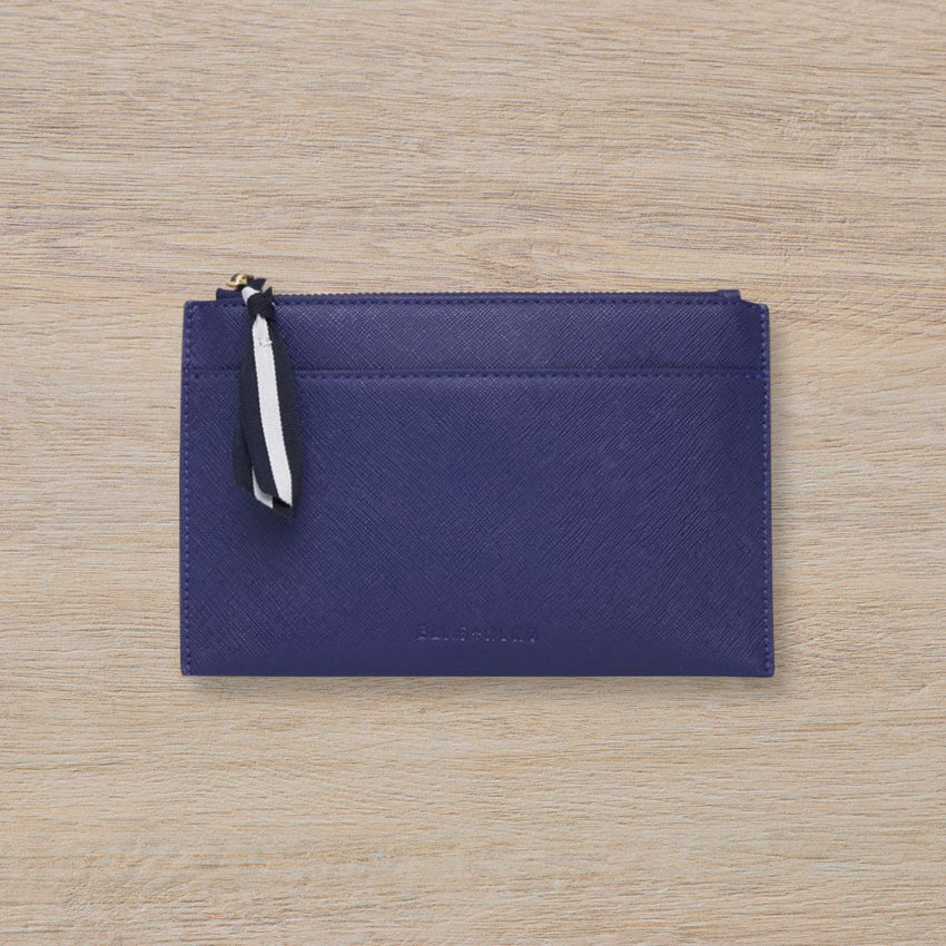 Elms + King New York Coin Purse, Navy Saffiano