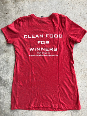 Fit and Fast Meals Red Ladies T-Shirt Medium
