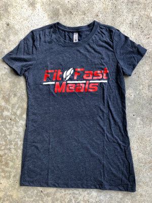 Fit and Fast Meals Navy Blue Ladies T-Shirt Small