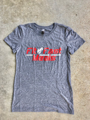 Fit and Fast Meals Gray Ladies T-Shirt Small
