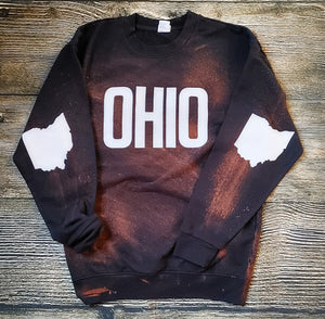 Bleached Out Ohio Black Fleece Crew - Unisex