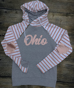 Rose Striped Double Hooded Ohio Fleece Pullover  - Ladies