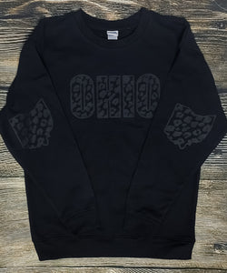 Matte Black Leopard Print Ohio Fleece Crew- Unisex