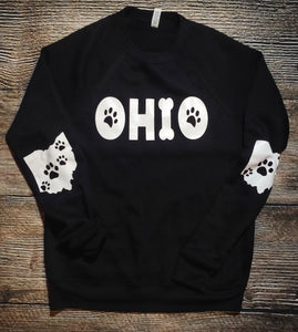 Unisex Dog Ohio Black Fleece Crew