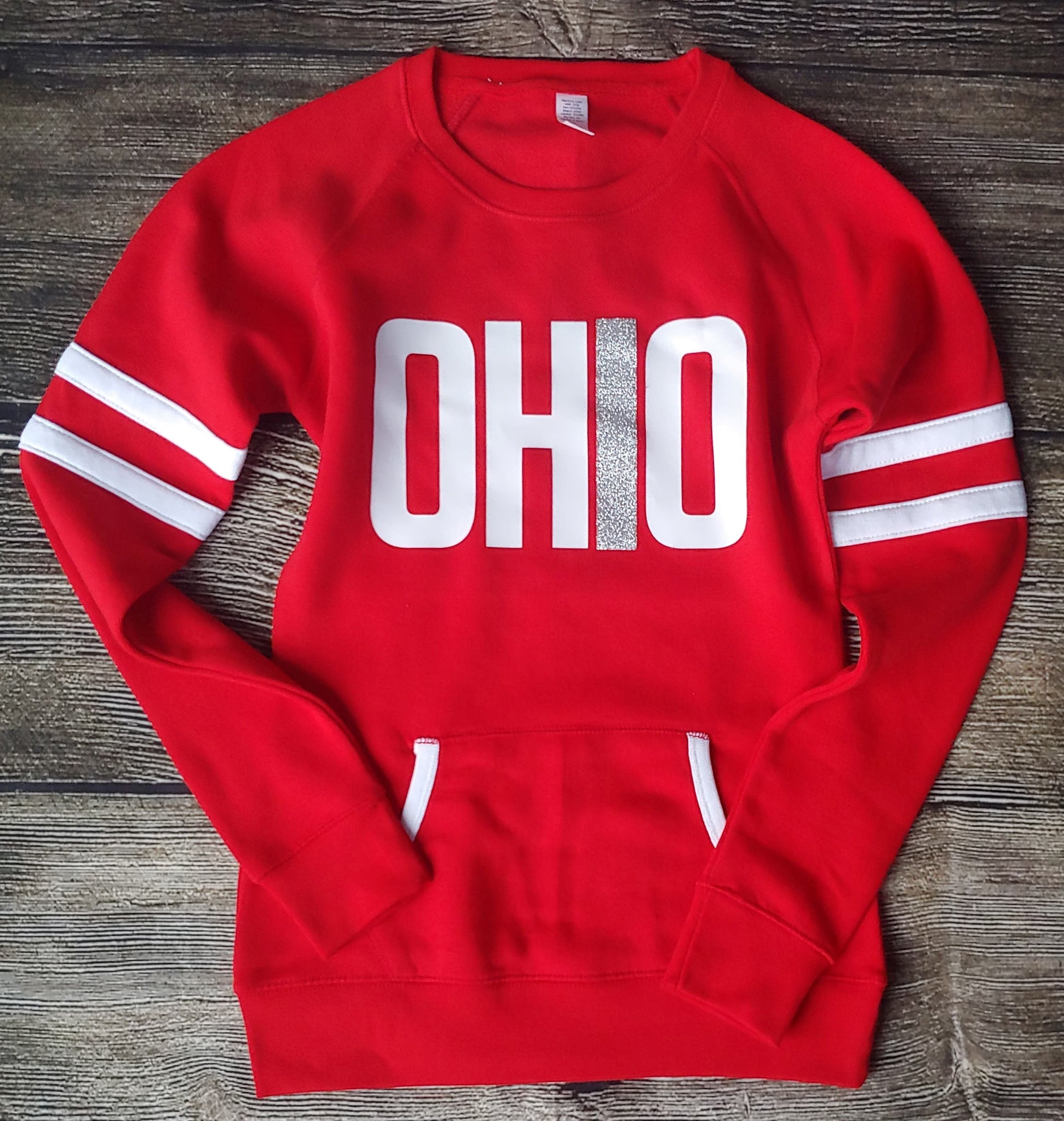 Ladies Red Ohio Varsity Fleece Crew