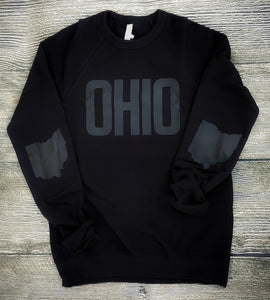 Black on Black Ohio Fleece Crew - Unisex