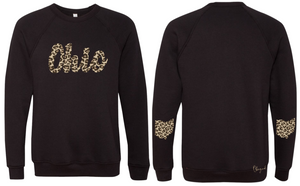 Leopard Print Scripty Ohio Crew Fleece
